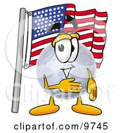 Moon Mascot Cartoon Character Pledging Allegiance To An American Flag