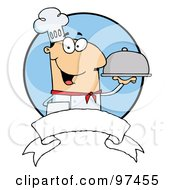 Friendly Male Chef Holding A Platter Over A Blank Banner And Blue Circle