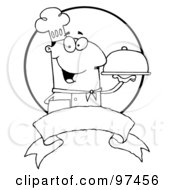 Royalty Free RF Clipart Illustration Of An Outlined Friendly Male Chef Holding A Platter Over A Blank Banner And Circle