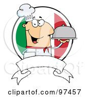 Royalty Free RF Clipart Illustration Of A Friendly Male Chef Holding A Platter Over A Blank Banner And Round Italian Flag