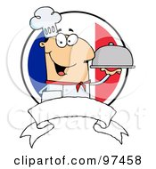 Royalty Free RF Clipart Illustration Of A Friendly Male Chef Holding A Platter Over A Blank Banner And Round French Flag