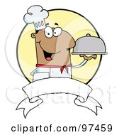 Royalty Free RF Clipart Illustration Of A Friendly Male Chef Holding A Platter Over A Blank Banner And Yellow Circle