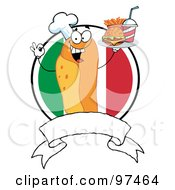 Royalty Free RF Clipart Illustration Of A Hot Dog Chef Serving Fast Food Over A Blank Banner And Italian Flag