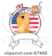 Royalty Free RF Clipart Illustration Of A Hot Dog Chef Serving Fast Food Over A Blank Banner And American Flag