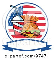 Royalty Free RF Clipart Illustration Of A Fast Food Logo Of Soda Fries And A Burger Over A Blank Label And American Flag by Hit Toon