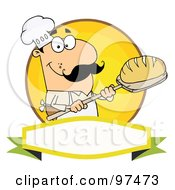 Royalty Free RF Clipart Illustration Of A Caucasian Baker Holding Bread Over A Yellow Circle And Blank Banner by Hit Toon