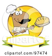 Royalty Free RF Clipart Illustration Of A Hispanic Baker Holding Bread Over A Yellow Circle And Blank Banner by Hit Toon