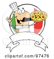 Royalty Free RF Clipart Illustration Of A Male Pizzeria Chef Holding A Pizza Pie With A Blank Banner And Italian Flag