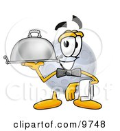 Moon Mascot Cartoon Character Dressed As A Waiter And Holding A Serving Platter