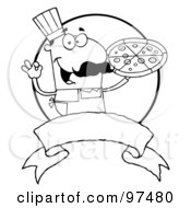Royalty Free RF Clipart Illustration Of An Outlined Male Pizzeria Chef Holding A Pizza With A Blank Label And Circle by Hit Toon