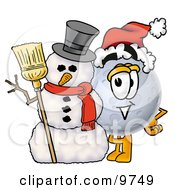 Clipart Picture Of A Moon Mascot Cartoon Character With A Snowman On Christmas