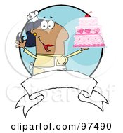 Royalty Free RF Clipart Illustration Of A Hispanic Woman Holding Up A Cake Over A Blank Banner And Blue Circle by Hit Toon