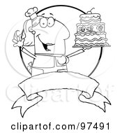 Royalty Free RF Clipart Illustration Of An Outlined Woman Holding Up A Cake Over A Blank Banner And Circle by Hit Toon