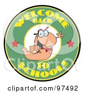 Royalty Free RF Clipart Illustration Of A Waving Book Worm Over A Green Welcome Back To School Circle