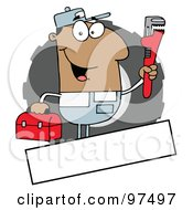 Royalty Free RF Clipart Illustration Of A Hispanic Auto Mechanic Logo With A Blank Text Box by Hit Toon