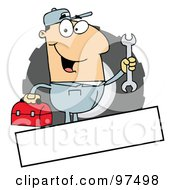 Royalty Free RF Clipart Illustration Of A Caucasian Mechanic Logo With A Blank Text Box