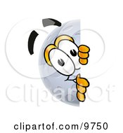 Clipart Picture Of A Moon Mascot Cartoon Character Peeking Around A Corner by Toons4Biz