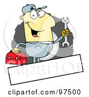 Royalty Free RF Clipart Illustration Of An Asian Mechanic Logo With A Blank Text Box by Hit Toon
