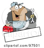 Royalty Free RF Clipart Illustration Of A Hispanic Mechanic Logo With A Blank Text Box by Hit Toon