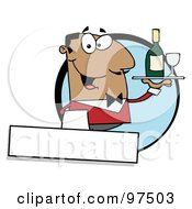 Royalty Free RF Clipart Illustration Of A Friendly Hispanic Waiter Serving Wine Logo by Hit Toon