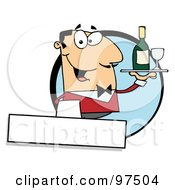 Royalty Free RF Clipart Illustration Of A Friendly Caucasian Waiter Serving Wine Logo by Hit Toon