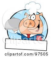 Royalty Free RF Clipart Illustration Of A Pig Waiter Serving A Platter Logo With A Text Box by Hit Toon