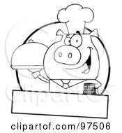 Royalty Free RF Clipart Illustration Of An Outlined Pig Waiter Serving A Platter Logo With A Text Box by Hit Toon