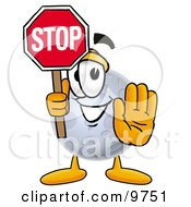 Clipart Picture Of A Moon Mascot Cartoon Character Holding A Stop Sign by Toons4Biz