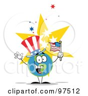 Royalty Free RF Clipart Illustration Of A Globe Wearing A Patriotic Hat And Waving An American Flag