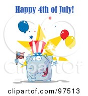 Royalty Free RF Clipart Illustration Of A Happy 4th Of July Greeting Of A Patriotic Elephant Wearing A Hat And Waving An American Flag