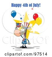 Royalty Free RF Clipart Illustration Of A Happy 4th Of July Greeting Of A Patriotic Donkey Wearing A Hat And Waving An American Flag