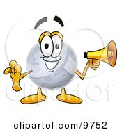 Clipart Picture Of A Moon Mascot Cartoon Character Holding A Megaphone