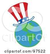 Royalty Free RF Clipart Illustration Of An American Hat On A Globe