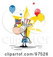 Royalty Free RF Clipart Illustration Of A Donkey Wearing A Patriotic Hat And Waving An American Flag by Hit Toon
