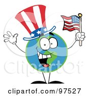 Royalty Free RF Clipart Illustration Of A Patriotic Globe Wearing A Hat And Waving An American Flag