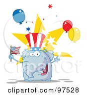 Royalty Free RF Clipart Illustration Of An Elephant Wearing A Patriotic Hat And Waving An American Flag