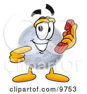 Clipart Picture Of A Moon Mascot Cartoon Character Holding A Telephone by Toons4Biz