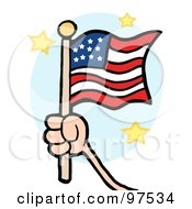 Royalty Free RF Clipart Illustration Of A Hand Waving A USA Flag And Waving It