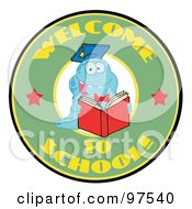 Royalty Free RF Clipart Illustration Of A Blue Worm On A Green Welcome To School Circle