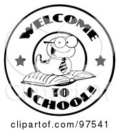 Royalty Free RF Clipart Illustration Of A Black And White Worm On A Welcome Back To School Circle