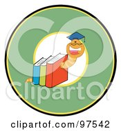 Royalty Free RF Clipart Illustration Of A Happy Book Worm Wearing A Graduation Cap Over A Green Circle