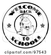 Royalty Free RF Clipart Illustration Of A Black And White Reading Worm On A Welcome Back To School Circle