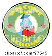Royalty Free RF Clipart Illustration Of A Blue Worm On A Green Welcome Back To School Circle