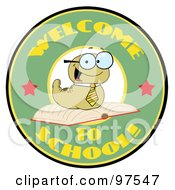 Royalty Free RF Clipart Illustration Of A Green Worm On A Green Welcome To School Circle