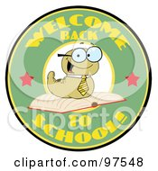 Royalty Free RF Clipart Illustration Of A Green Worm On A Green Welcome Back To School Circle