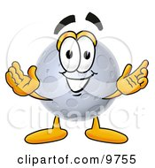Moon Mascot Cartoon Character With Welcoming Open Arms