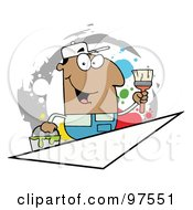 Royalty Free RF Clipart Illustration Of A Hispanic Painter Over A Blank Triangle Box