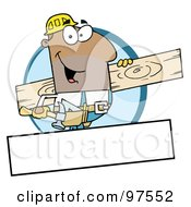 Royalty Free RF Clipart Illustration Of An African American Painter Over A Blank Box by Hit Toon