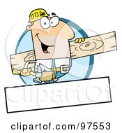 Royalty Free RF Clipart Illustration Of A Caucasian Painter Over A Blank Box by Hit Toon