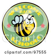 Royalty Free RF Clipart Illustration Of A Green Welcome Back To School Bee Circle